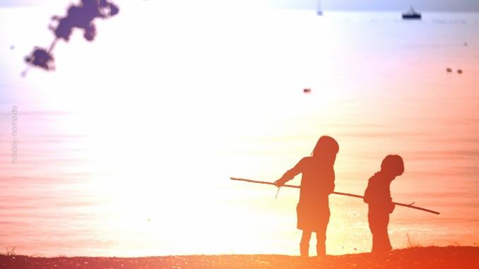 Das Abenteuer ruft am flachen Strand beim Urlaub am Balaton